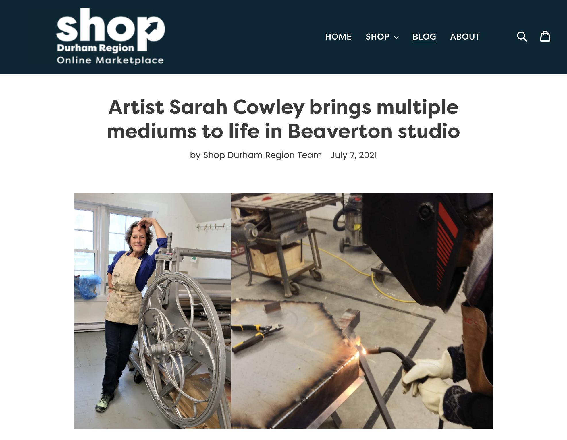 Sarah Cowley gets interviewed on Shop Durham Region